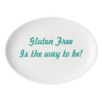 """""""Das freie Gluten ist die Weise zu sein!"""" Porzellan Servierplatte"""