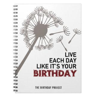 Das Geburtstags-Projekt-großer Löwenzahn-gewundene Spiral Notizblock