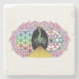 Das gemalte Pyramide-Logo Steinuntersetzer