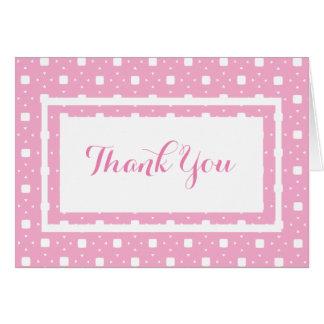 Das gemusterte Baby-Mädchen-Rosa danken Ihnen zu Grußkarte