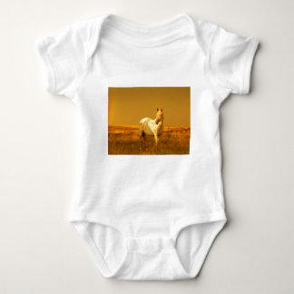 Das gepunktete Pferd im goldenen Glühen eines Baby Strampler