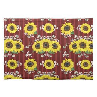 Das gestreifte rote frische Sonnenblume-nahtlose Tischset