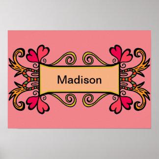 Das Girly Namensherz des rosa Kindes niedlich für Poster