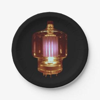 Das Glühen übertragen Vakuumröhre Pappteller