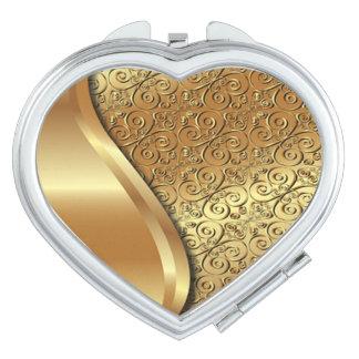 Das Gold mit zwei Tönen überzog Beschaffenheit mit Taschenspiegel