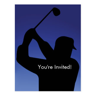 Das Golf-Blau-Einladung der Männer Postkarte
