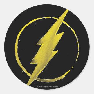 Das grelle | gelbe Kasten-Emblem Runder Aufkleber