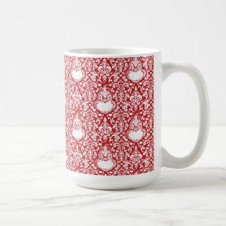 Das Grinch | rote Damast-Muster Kaffeetasse