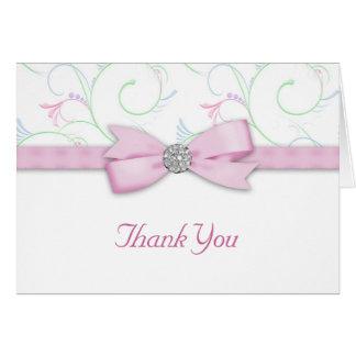 Das grün-blaue Band-Bogen-Rosa danken Ihnen Karten