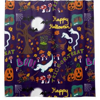 Das Halloween der Diva-Dackel Duschvorhang