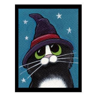 Das Halloween-Katzen-Illustration der Hexe Postkarte