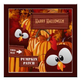 Das Halloween-Plakat des Kürbis-Flecken-Kindes Poster