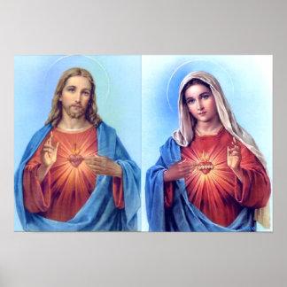 Das heilige Herz und das tadellose Herz-Plakat Poster