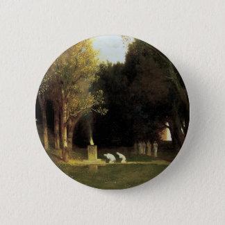 Das heilige Holz durch Arnold Bocklin, Vintage Runder Button 5,1 Cm