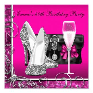 Das heiße Rosa-Geburtstags-Party der Frau Einladungen