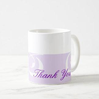 Das hellpurpurne dekorative lila Band danken Ihnen Kaffeetasse