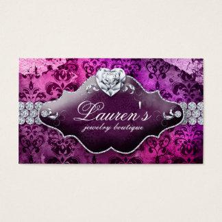 Das Herz-Damast SchmuckVintager Valentines lila Visitenkarte