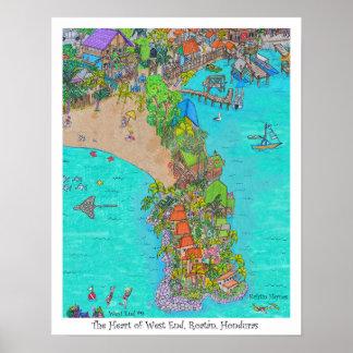 Das Herz des West End #9, Roatan, Honduras Poster