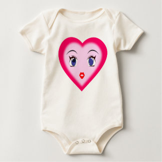 Das Herz-Shirt-Rosa durch Kiara Baby Strampler