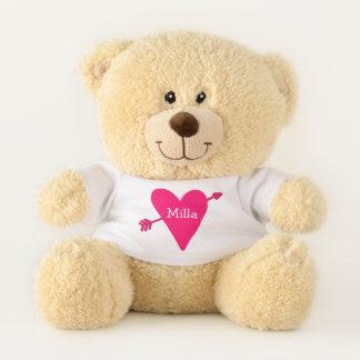 Das Herzpersonalisierter Teddy-Bär des rosa Amors Teddybär