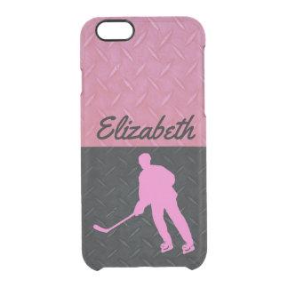 Das Hockey-Namen-Fall der rosa und schwarzen Durchsichtige iPhone 6/6S Hülle