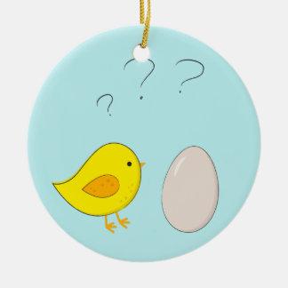 Das Huhn oder der Ei niedliche Ostern-Cartoon Keramik Ornament