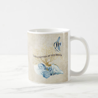 Das Indigo-Ozean-Leben ist an den Strand-Muscheln Kaffeetasse