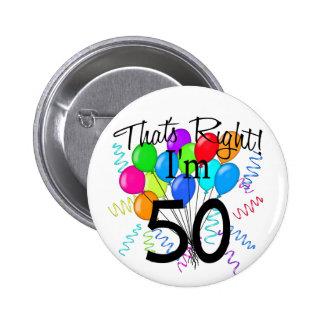 Das ist Recht, das ich 50 - Geburtstag bin Buttons