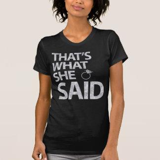 Das ist, was sie silberne Glitter-Shirts sagte T-Shirt