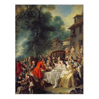 Das Jagd-Mittagessen, 1737 Postkarte