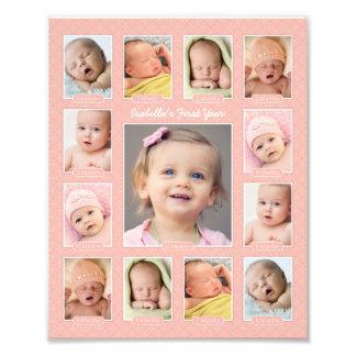 Das Jahr-Foto-Andenken-Collagen-Druck des Babys er