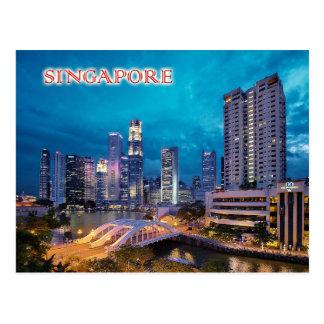 Das Kai und die Singapur-Skyline nachts Postkarten