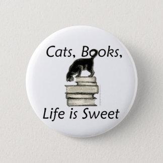 Das Katzen-Buch-Leben ist süß Runder Button 5,7 Cm