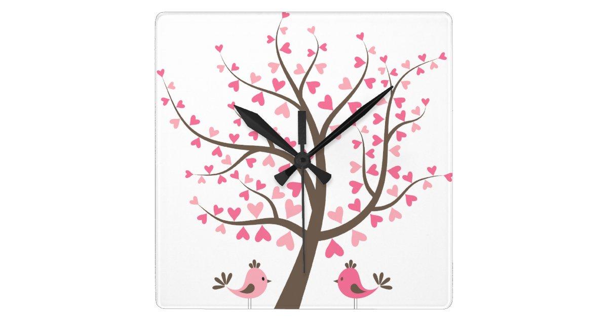 das kinderzimmer des rosa liebe baum m dchens wanduhren. Black Bedroom Furniture Sets. Home Design Ideas