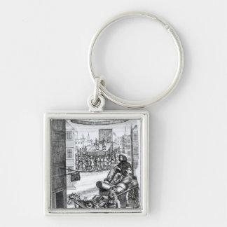 Das komische Romance durch Paul Scarron Silberfarbener Quadratischer Schlüsselanhänger