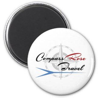 Das Kompass-Rosen-Reiselogo auf ALLES! Runder Magnet 5,7 Cm