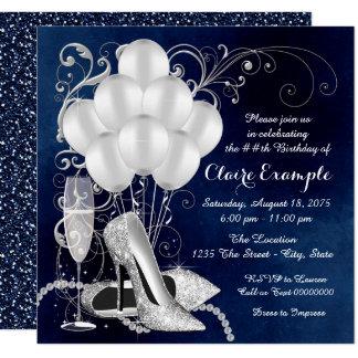 Das königliche Blau-Silber-elegantes Quadratische 13,3 Cm Einladungskarte