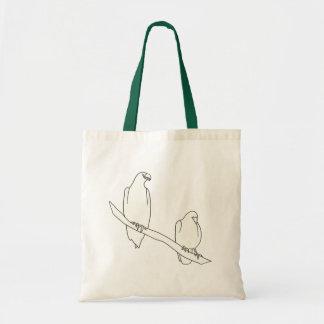 Das Kontur-Kunst-Zeichnen von zwei Vögeln auf Einkaufstaschen