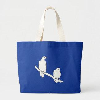 Das Kontur-Kunst-Zeichnen von zwei Vögeln auf Tasche