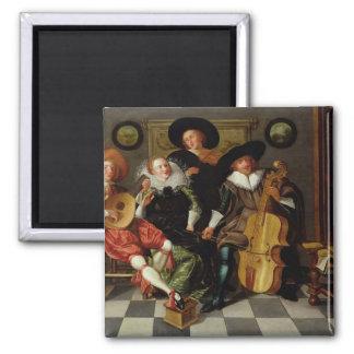 Das Konzert (Öl auf Platte) Quadratischer Magnet