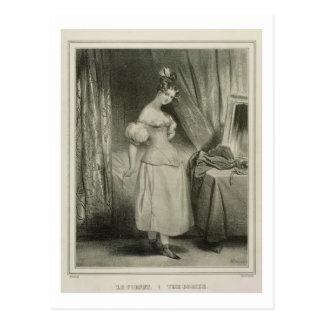 Das Korsett, graviert von Alfred Leon Lemercier Postkarte