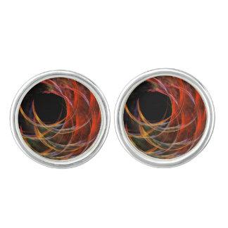 Das Kreis-abstrakte Kunst-Silber brechen überzogen Manschettenknöpfe