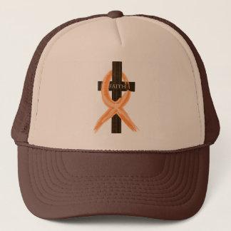 Das Kreuz des orange Leukämie-Überlebenden des Truckerkappe
