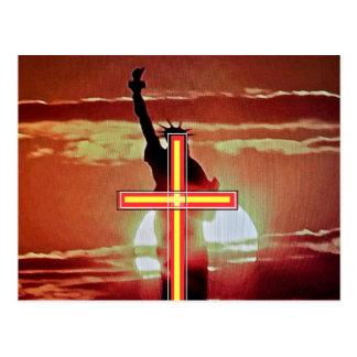 Das Kreuz und das Freiheitsstatue Postkarte