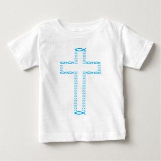 Das Kreuz unter Verwendung der Fische Baby T-shirt