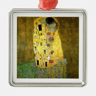 Das Kuss ~ Gustav Klimt Quadratisches Silberfarbenes Ornament