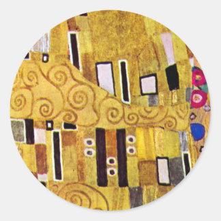 Das Kuss-Muster durch Gustav Klimt, Kunst Nouveau Runder Aufkleber
