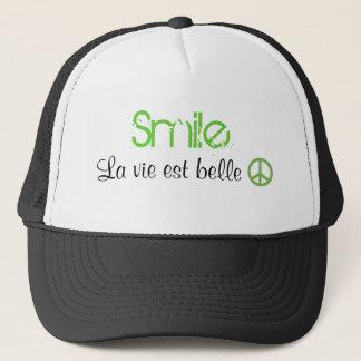 Das Lächeln-Leben ist schön. Frieden Truckerkappe