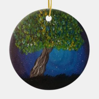 das Leben, ist die Erde und Bäume Rundes Keramik Ornament