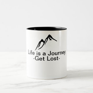 Das Leben ist eine Reise Zweifarbige Tasse